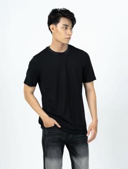 Áo Thun Cổ Bo Form Regular AT015 Màu Đen