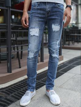 Quần Jean Skinny Rách Xanh Dương QJ1377