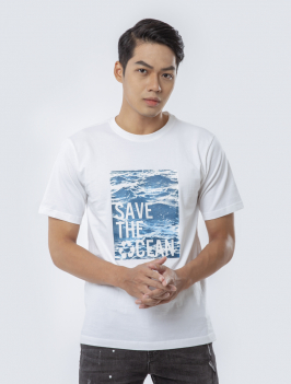 Áo Thun In Save The Oceans Trắng AT832