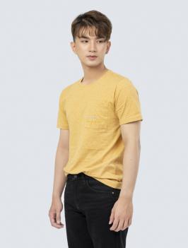 Áo Thun Regular Thêu Túi Ngực AT846 Màu Vàng