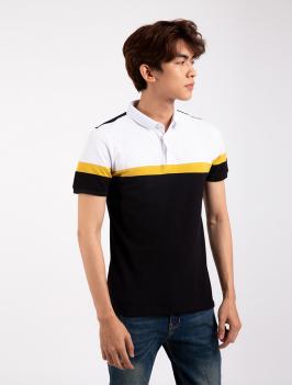 Áo Thun Polo Tay Bo Rã phối AT856 Màu Đen