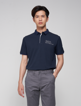Áo Polo Ngực In Chữ PO007 Màu Xanh Đen