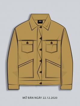 Áo Khoác Kaki Túi Đắp AK017 Màu Bò