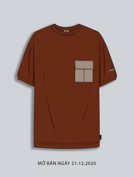 Áo Thun Phối Túi Đắp Gắn Nhãn AT035 Màu Nâu