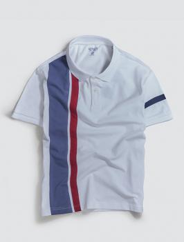 Áo Polo Phối Sọc Thun Màu Trắng PO041