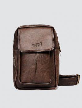 Túi đeo chéo có túi nhỏ màu nâu TX009