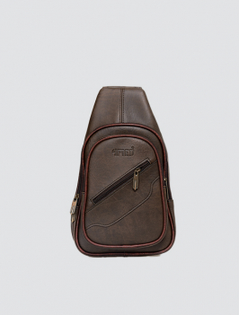 Túi đeo chéo dây kéo xéo nâu TX006