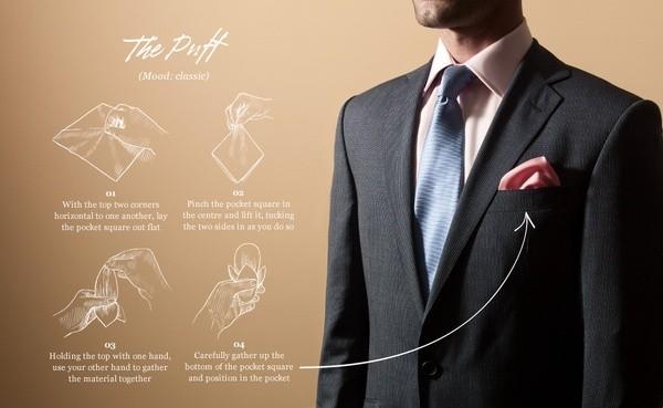 Tuyệt chiêu gấp khăn trang trí túi áo vest nam thể hiện sự quý phái